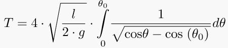 Arbitrary aplitude period of pendulum